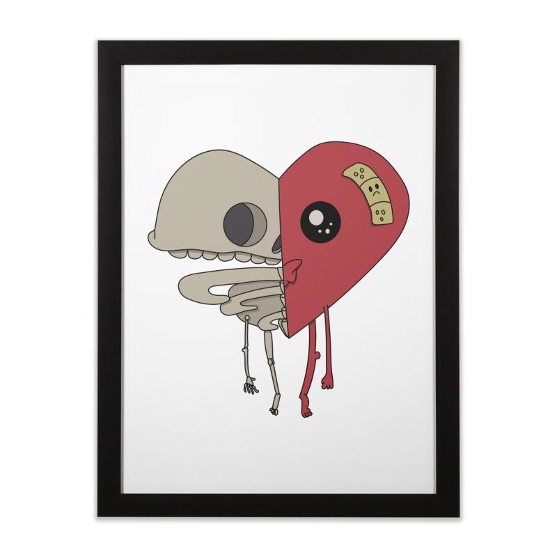 Skele Heart Home Framed Fine Art Print by Depressed Monsters