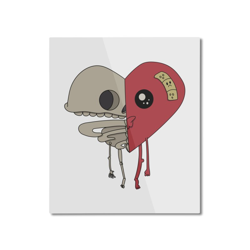 Skele Heart Home Mounted Aluminum Print by Depressed Monsters