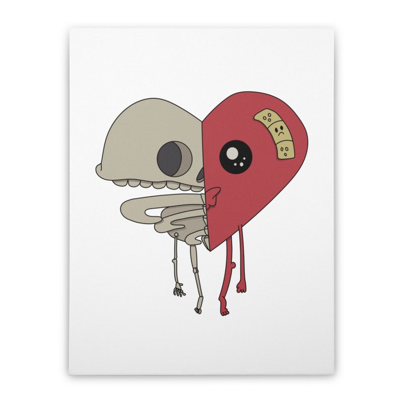 Skele Heart Home Stretched Canvas by Depressed Monsters