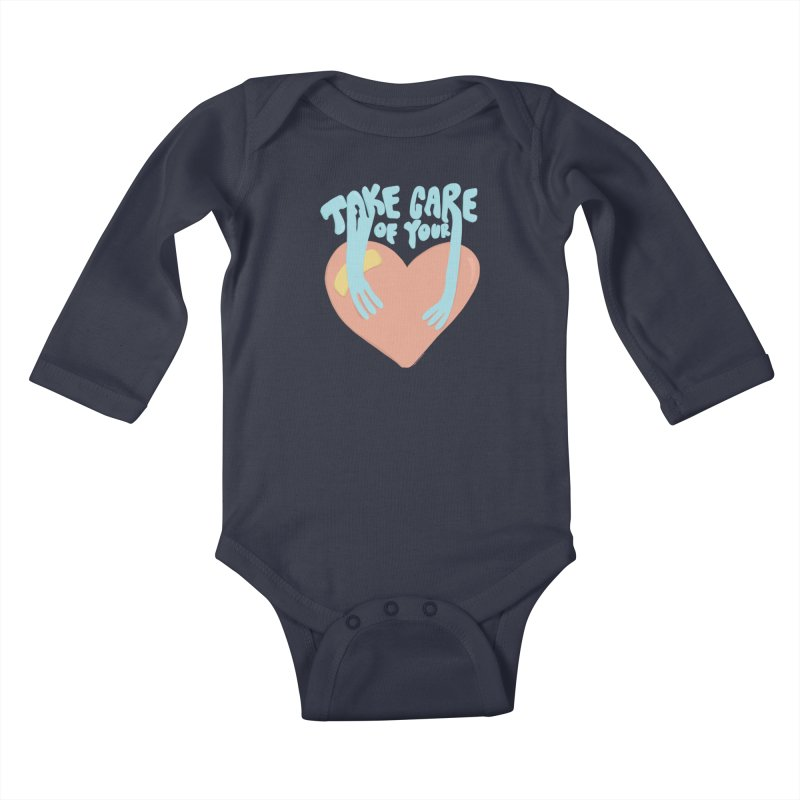 Take Care Of Your Heart© Kids Baby Longsleeve Bodysuit by Depressed Monsters