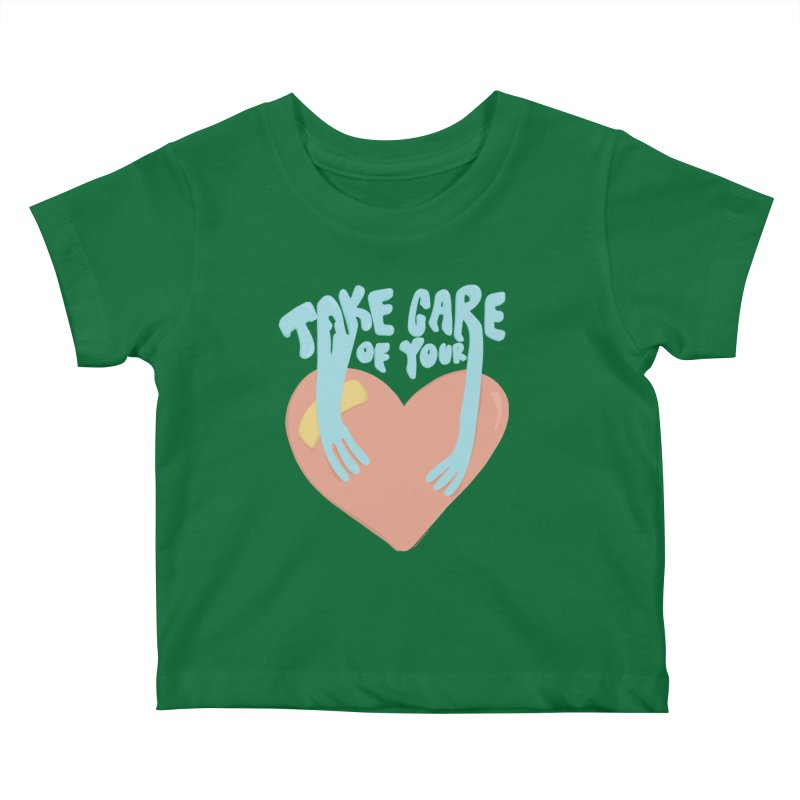 Take Care Of Your Heart© Kids Baby T-Shirt by Depressed Monsters