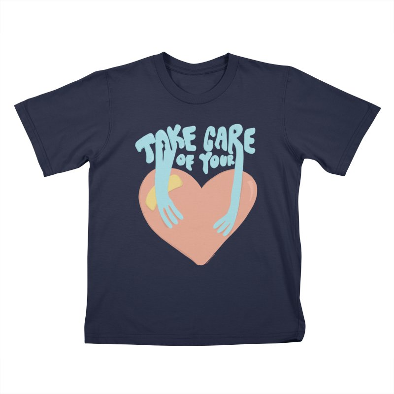 Take Care Of Your Heart© Kids T-Shirt by Depressed Monsters