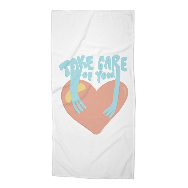 Take Care Of Your Heart© Accessories Beach Towel by Depressed Monsters