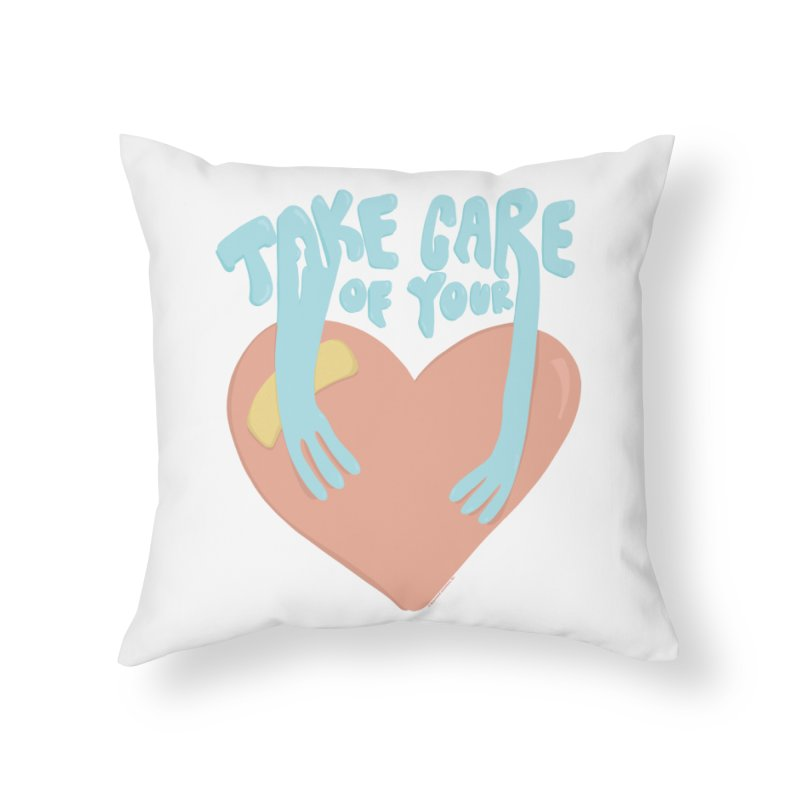 Take Care Of Your Heart© Home Throw Pillow by Depressed Monsters