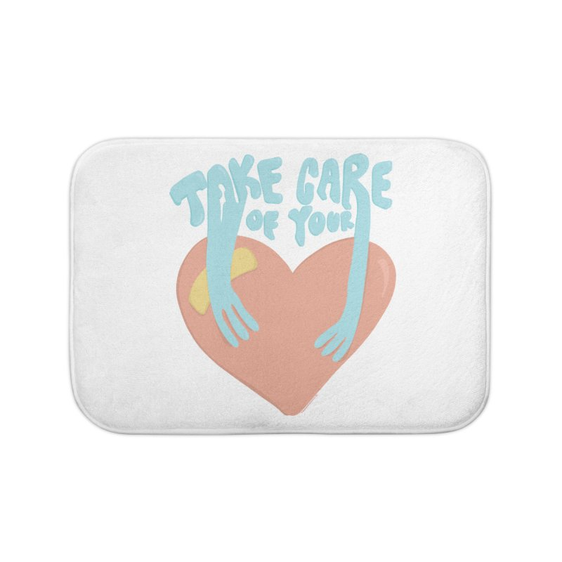 Take Care Of Your Heart© Home Bath Mat by Depressed Monsters