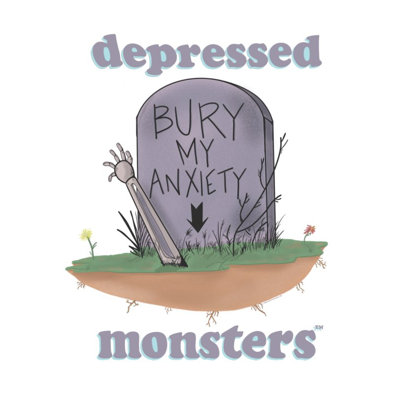 Bury My Anxiety Logo Tee by Ryan Brunty Accessories Face Mask by Depressed Monsters