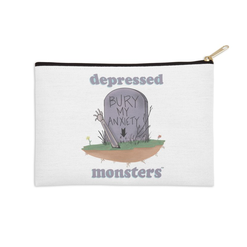 Bury My Anxiety Logo Tee by Ryan Brunty Accessories Zip Pouch by Depressed Monsters