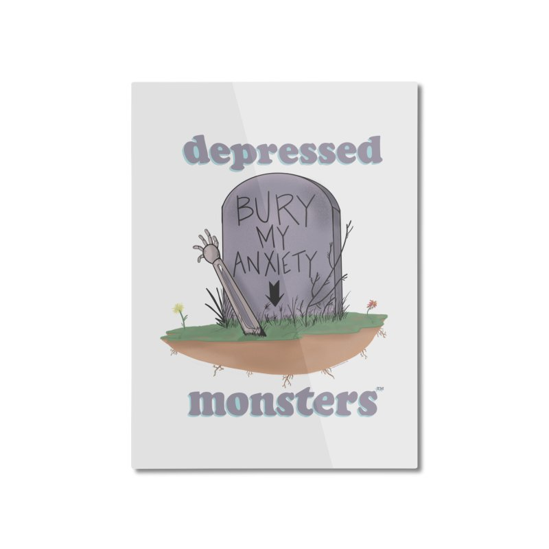 Bury My Anxiety Logo Tee by Ryan Brunty Home Mounted Aluminum Print by Depressed Monsters