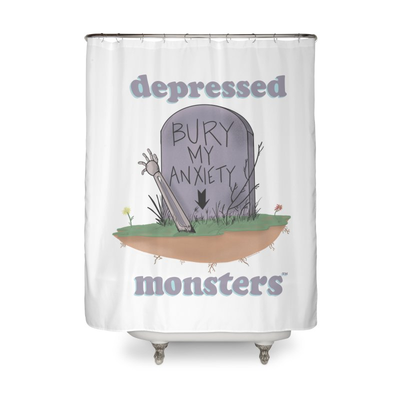 Bury My Anxiety Logo Tee by Ryan Brunty Home Shower Curtain by Depressed Monsters