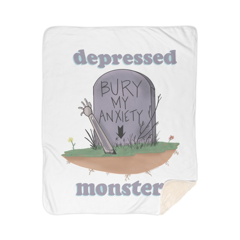 Bury My Anxiety Logo Tee by Ryan Brunty Home Blanket by Depressed Monsters