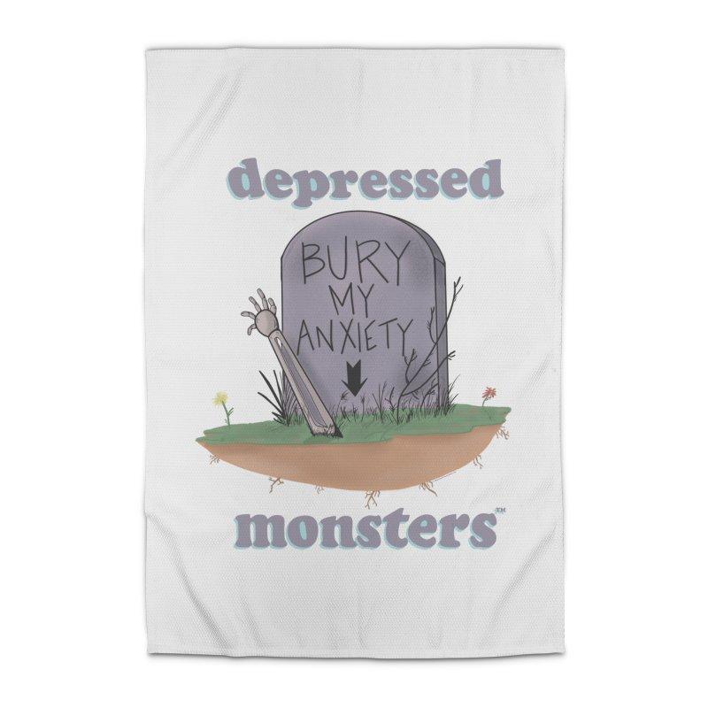 Bury My Anxiety Logo Tee by Ryan Brunty Home Rug by Depressed Monsters
