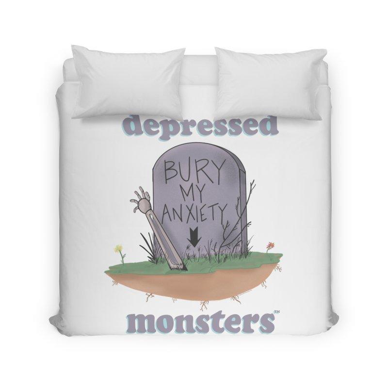 Bury My Anxiety Logo Tee by Ryan Brunty Home Duvet by Depressed Monsters