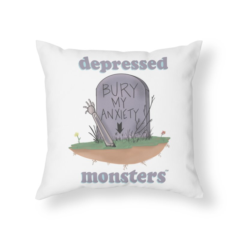 Bury My Anxiety Logo Tee by Ryan Brunty Home Throw Pillow by Depressed Monsters