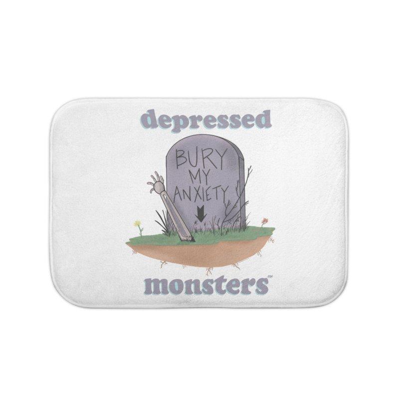 Bury My Anxiety Logo Tee by Ryan Brunty Home Bath Mat by Depressed Monsters