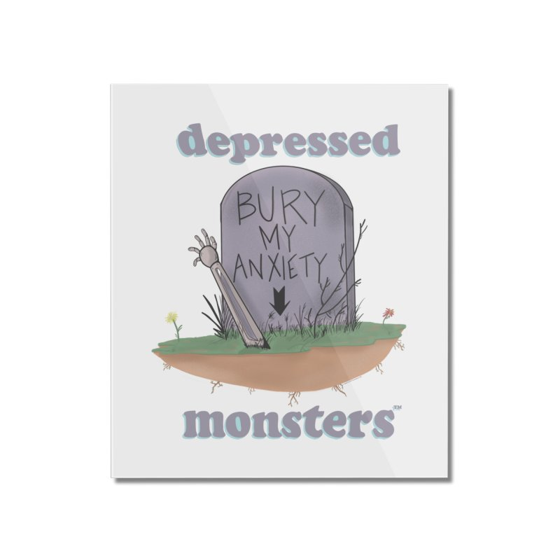 Bury My Anxiety Logo Tee by Ryan Brunty Home Mounted Acrylic Print by Depressed Monsters