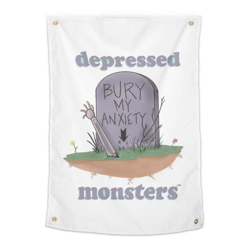 Bury My Anxiety Logo Tee by Ryan Brunty Home Tapestry by Depressed Monsters