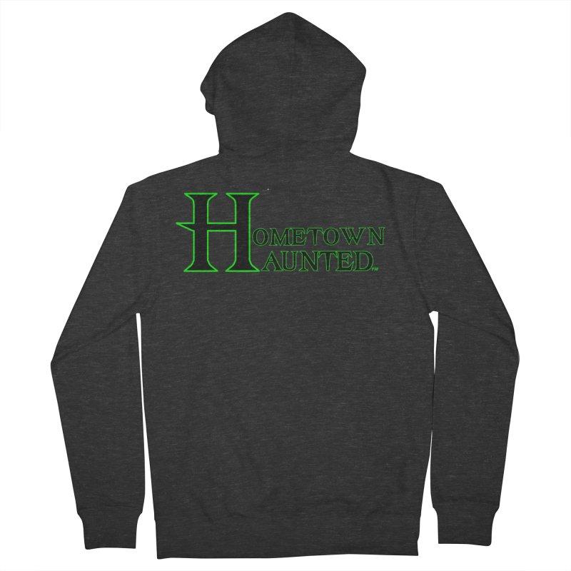 Hometown Haunted (Black) Men's French Terry Zip-Up Hoody by DesignsbyAnvilJames's Artist Shop