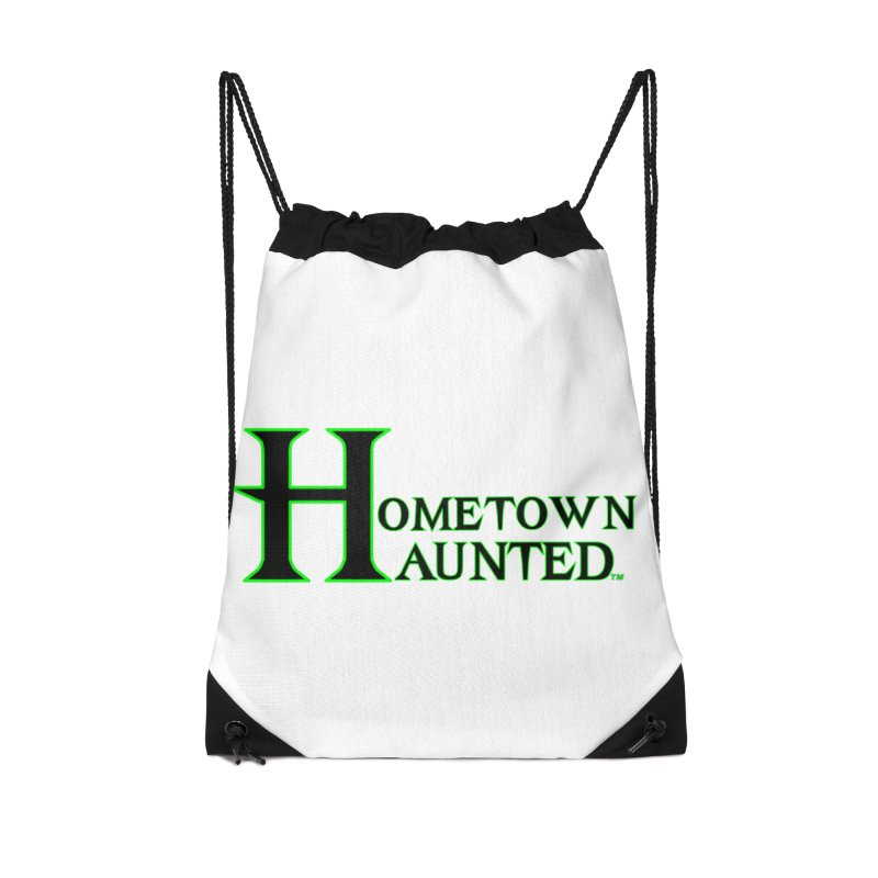 Hometown Haunted (Black) Accessories Drawstring Bag Bag by DesignsbyAnvilJames's Artist Shop