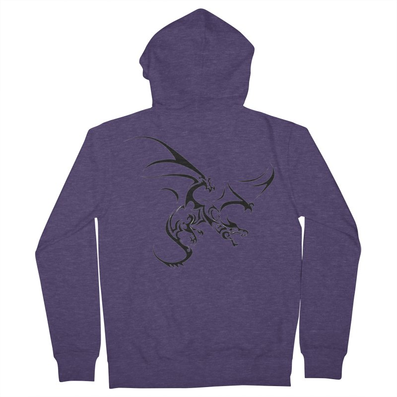 Tribal Dragon Men's French Terry Zip-Up Hoody by DesignsbyAnvilJames's Artist Shop