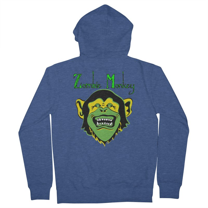 Zombie Monkey Men's French Terry Zip-Up Hoody by DesignsbyAnvilJames's Artist Shop