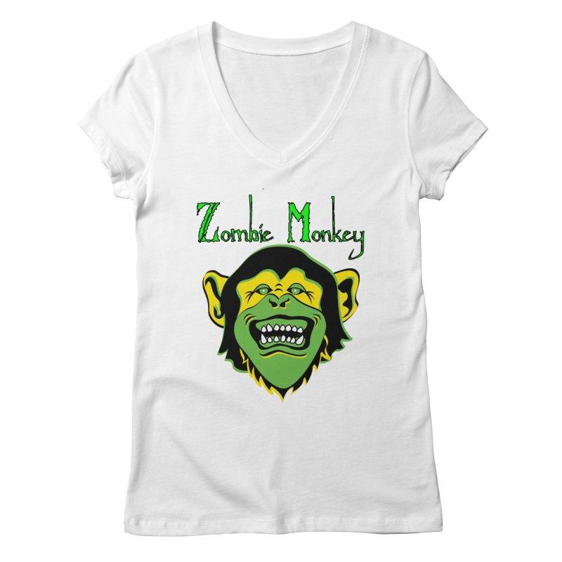Zombie Monkey Women's Regular V-Neck by DesignsbyAnvilJames's Artist Shop
