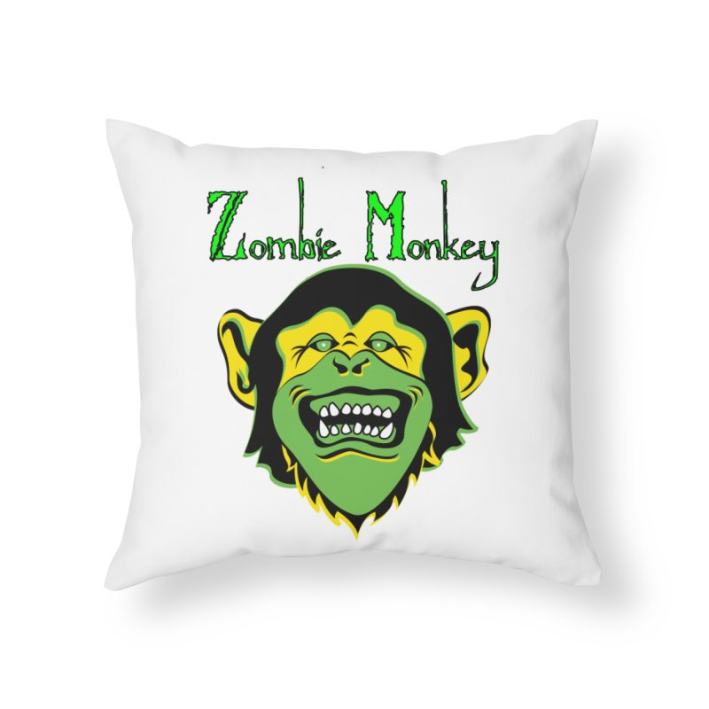 Zombie Monkey Home Throw Pillow by DesignsbyAnvilJames's Artist Shop