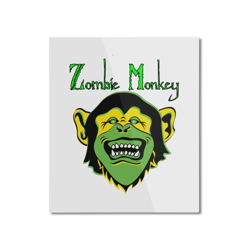Zombie Monkey Home Mounted Aluminum Print by DesignsbyAnvilJames's Artist Shop
