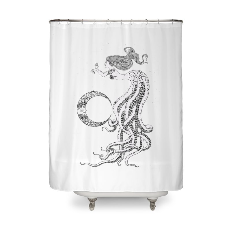 Mermaid Moon Home Shower Curtain by DesignsbyAnvilJames's Artist Shop
