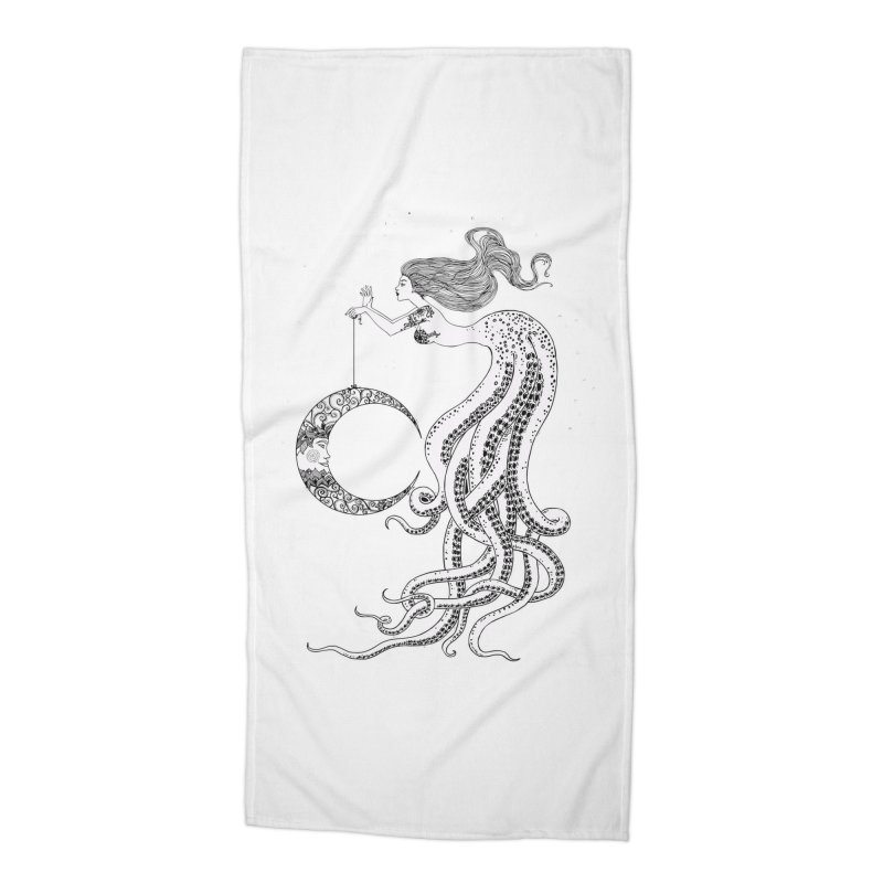 Mermaid Moon Accessories Beach Towel by DesignsbyAnvilJames's Artist Shop