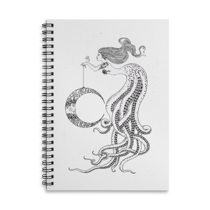 Mermaid Moon Accessories Lined Spiral Notebook by DesignsbyAnvilJames's Artist Shop