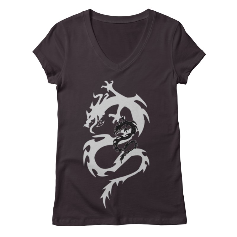 Double Dragon Women's Regular V-Neck by DesignsbyAnvilJames's Artist Shop