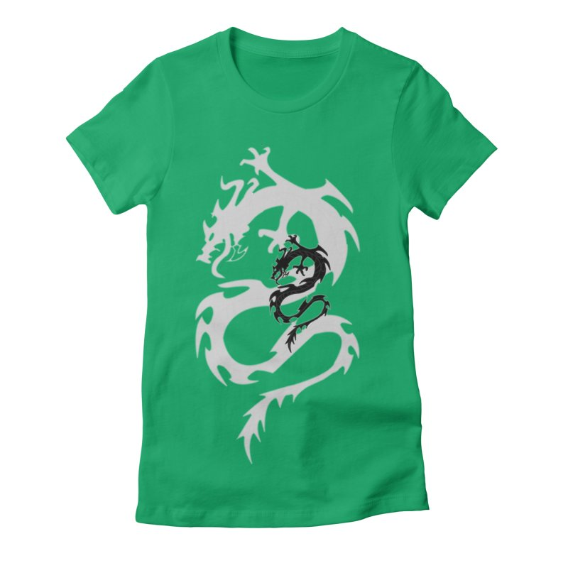 Double Dragon Women's Fitted T-Shirt by DesignsbyAnvilJames's Artist Shop
