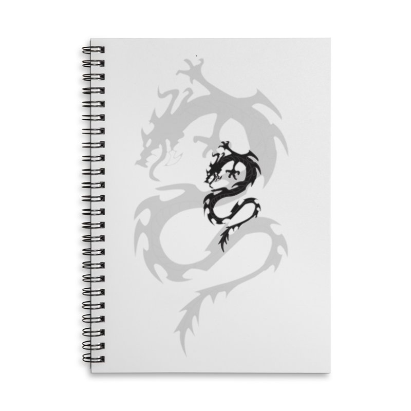 Double Dragon Accessories Lined Spiral Notebook by DesignsbyAnvilJames's Artist Shop