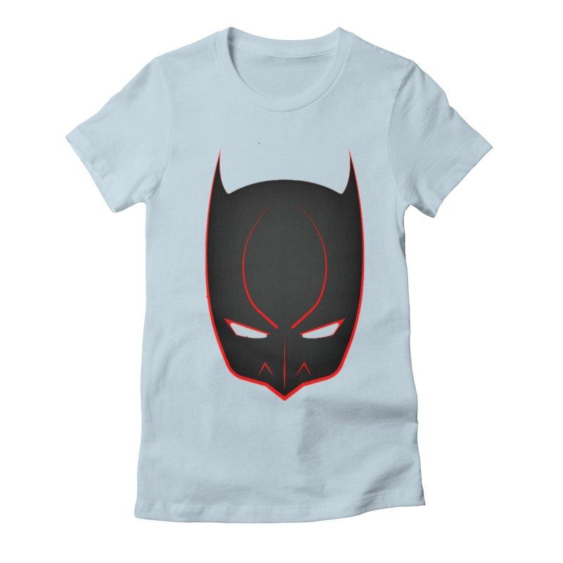 BAT MASK Women's Fitted T-Shirt by DesignsbyAnvilJames's Artist Shop