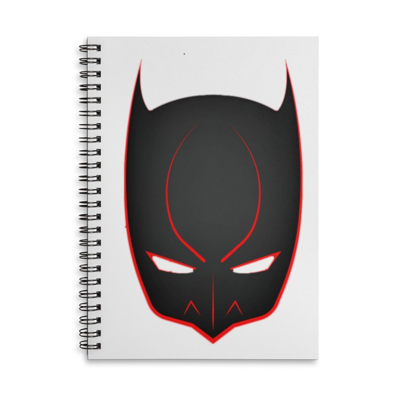 BAT MASK Accessories Lined Spiral Notebook by DesignsbyAnvilJames's Artist Shop