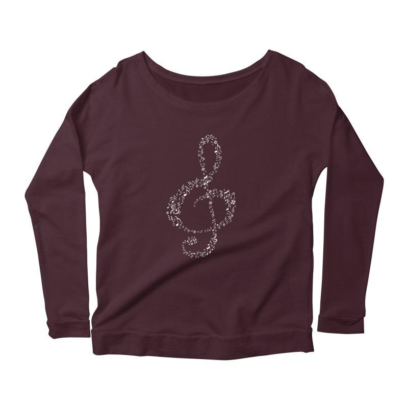Music Note : Treble Women's Longsleeve Scoopneck  by DesireArt's Artist Shop