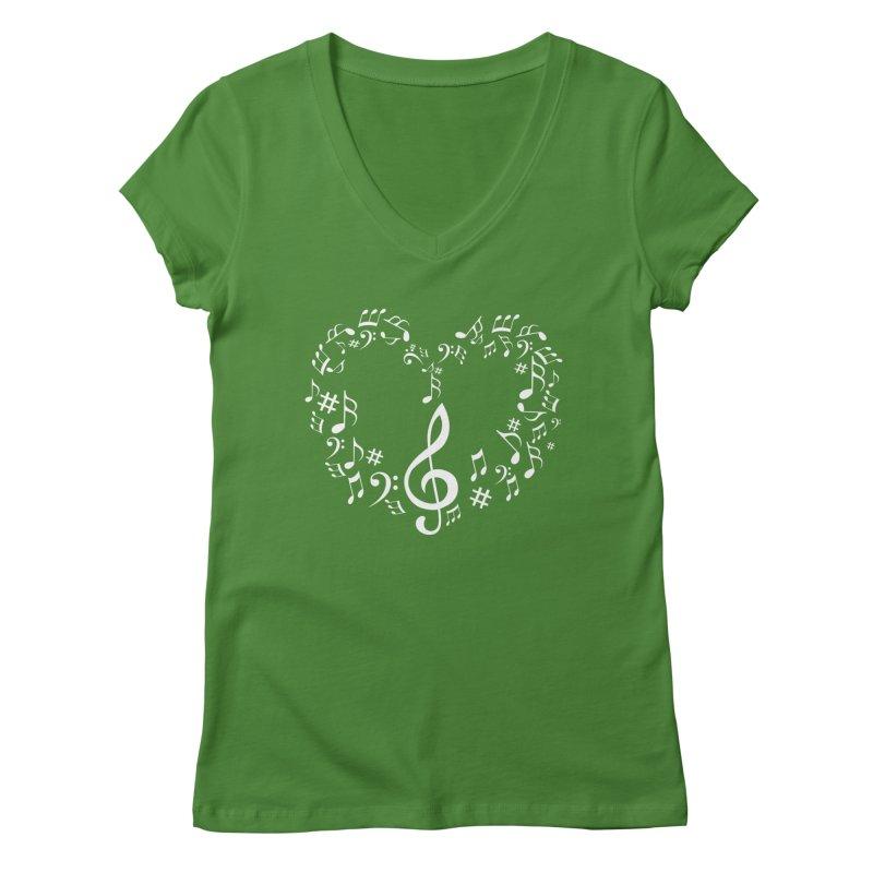 Music Love Women's V-Neck by DesireArt's Artist Shop
