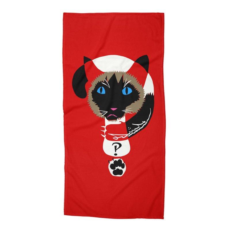 Interrobang Cat Accessories Beach Towel by DevilishDetails's Artist Shop