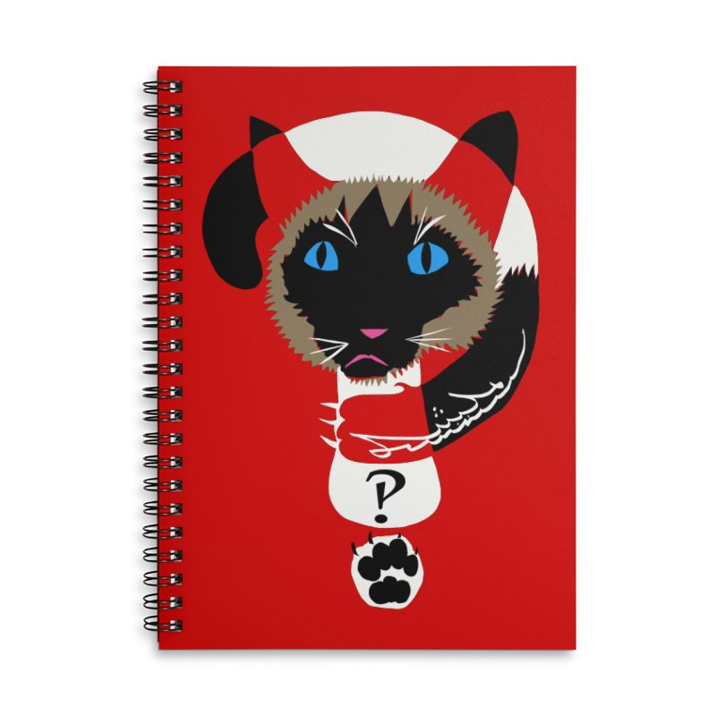 Interrobang Cat Accessories Lined Spiral Notebook by DevilishDetails's Artist Shop