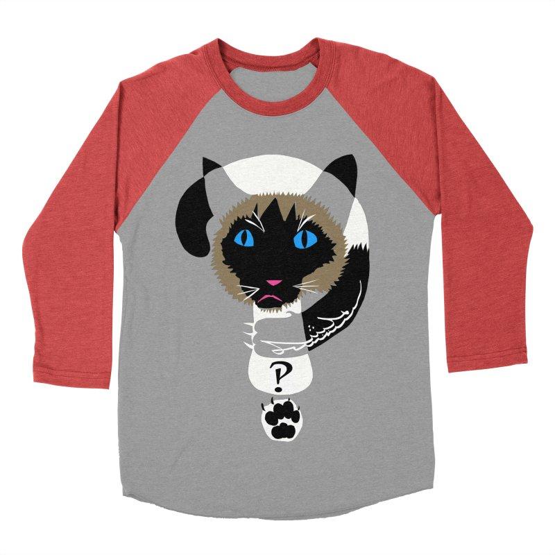 Interrobang Cat Men's Baseball Triblend Longsleeve T-Shirt by DevilishDetails's Artist Shop