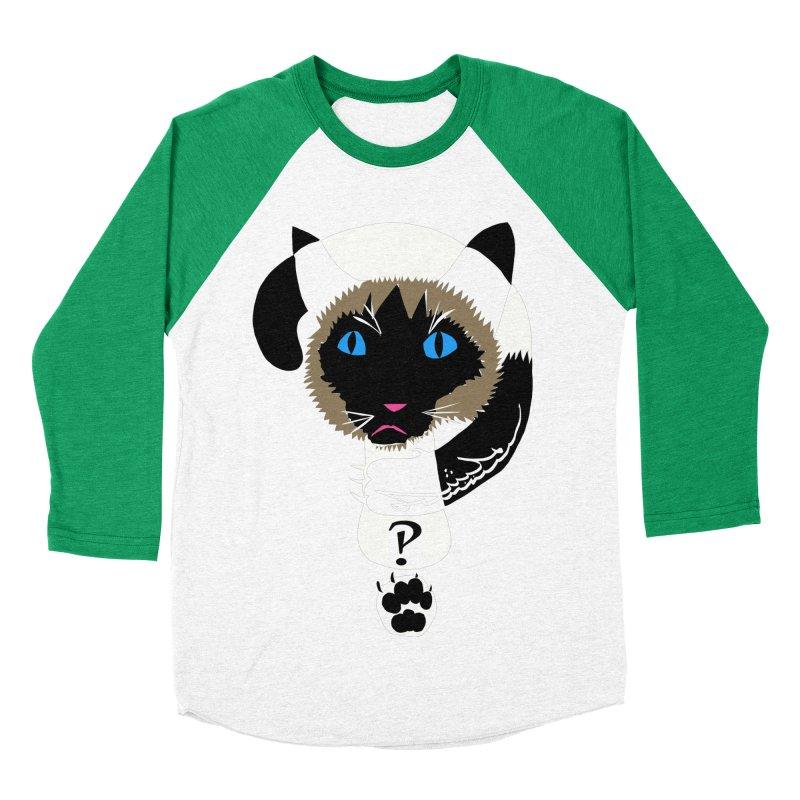 Interrobang Cat Men's Baseball Triblend T-Shirt by DevilishDetails's Artist Shop