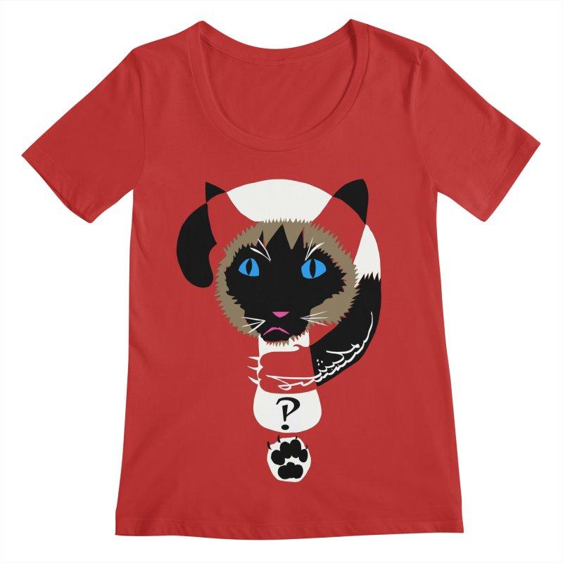 Interrobang Cat Women's Regular Scoop Neck by DevilishDetails's Artist Shop