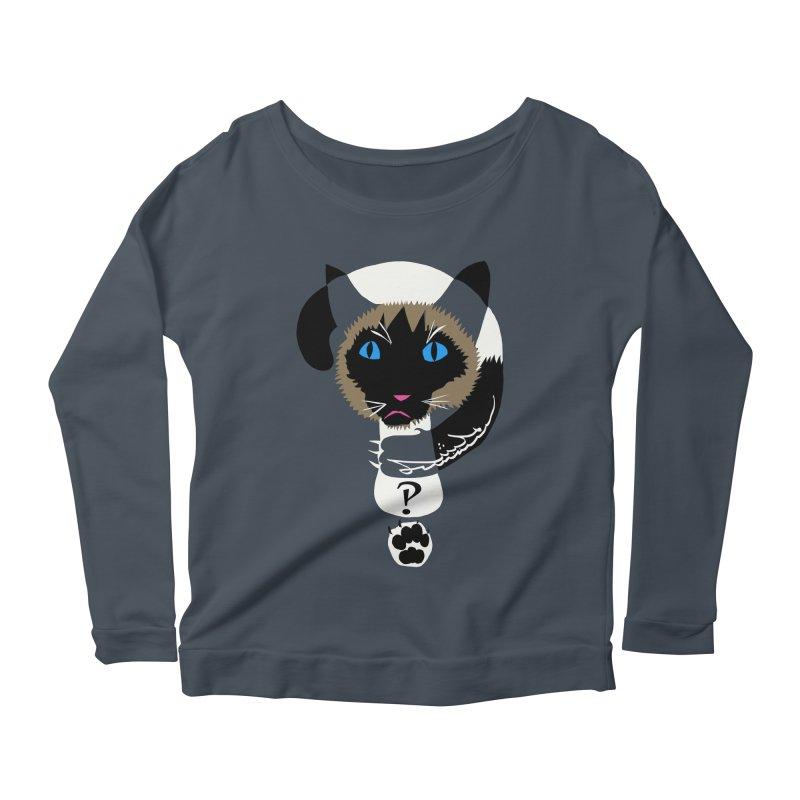 Interrobang Cat Women's Scoop Neck Longsleeve T-Shirt by DevilishDetails's Artist Shop