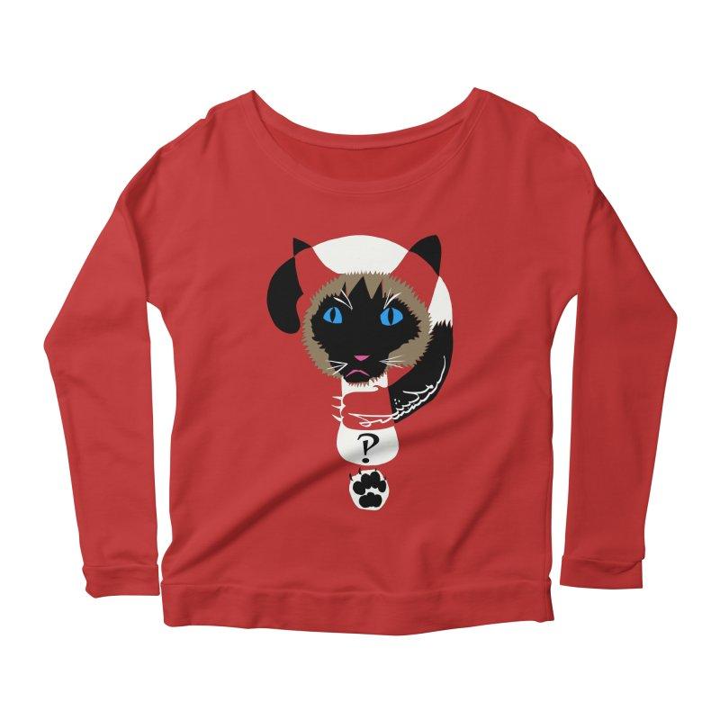 Interrobang Cat Women's Longsleeve Scoopneck  by DevilishDetails's Artist Shop