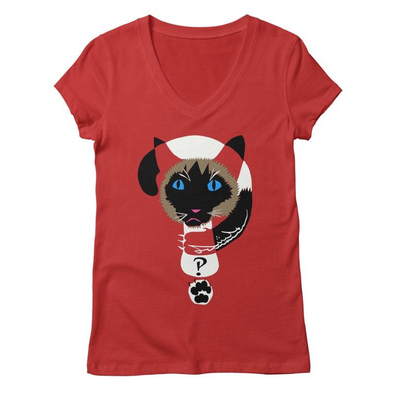 Interrobang Cat Women's Regular V-Neck by DevilishDetails's Artist Shop