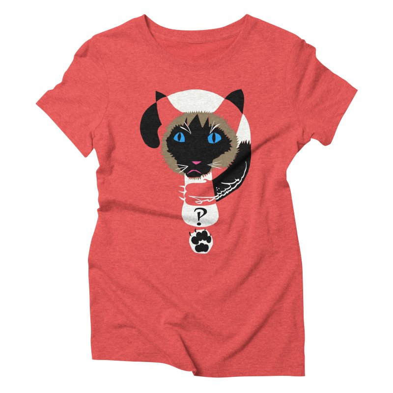 Interrobang Cat Women's Triblend T-Shirt by DevilishDetails's Artist Shop
