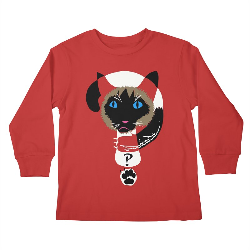 Interrobang Cat Kids Longsleeve T-Shirt by DevilishDetails's Artist Shop