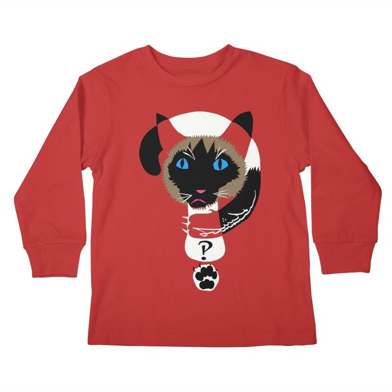 Interrobang Cat Kids Longsleeve T-Shirt by DevilishDetails's Artist Shop