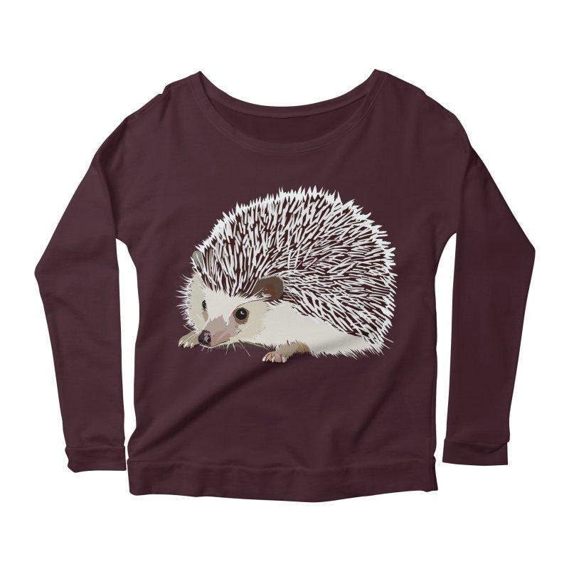 Happy Hedgehog Women's Longsleeve Scoopneck  by DevilishDetails's Artist Shop