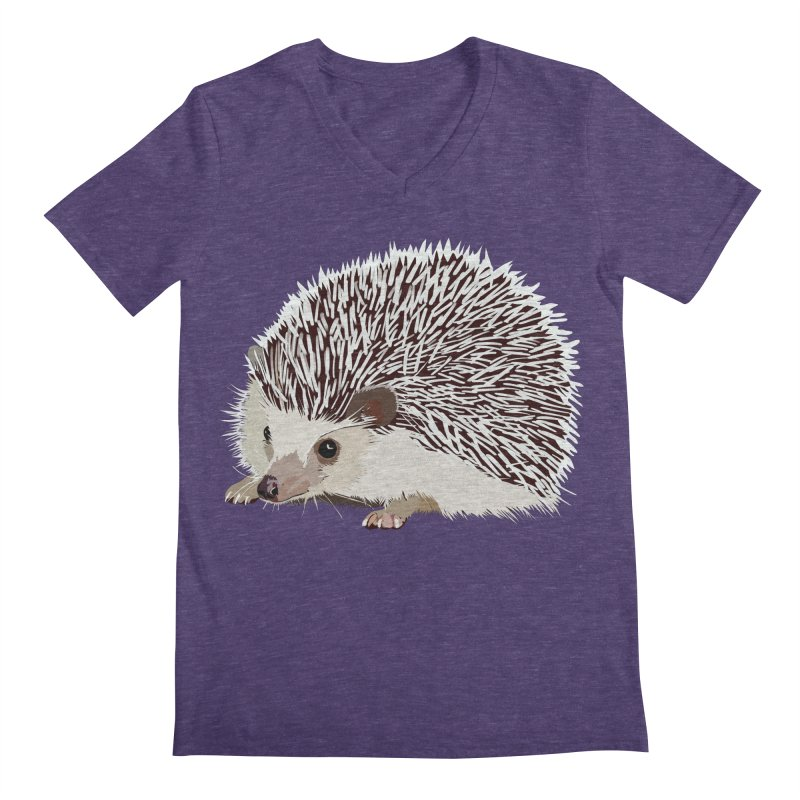 Happy Hedgehog Men's Regular V-Neck by DevilishDetails's Artist Shop